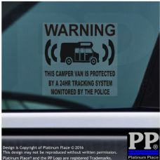 1 x Camper Van Tracking Security Sticker-GPS Tracker-BLACK-Protection Sign